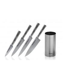 Набор из 4-х кухонных ножей (овощной, универсальный, для тонкой нарезки, Шеф) и подставки Samura Bamboo 88, 125, 200, 200 мм (SBA-05)
