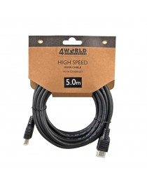Высокоскоростной  кабель 4World Set HDMIс Ethernet (v1.4), 3D, HQ, BLK, 5 м (08606_promo_10 + 1)
