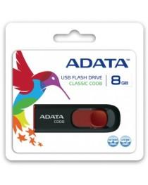 USB флеш накопитель Adata Classic C008 8 ГБ, выдвижная, чёрная с красным AC008-8G-RKD