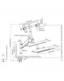 Держатель для двух мониторов и клавиатуры Maclean MC-797 до 8 кг 13 '' -32 ''