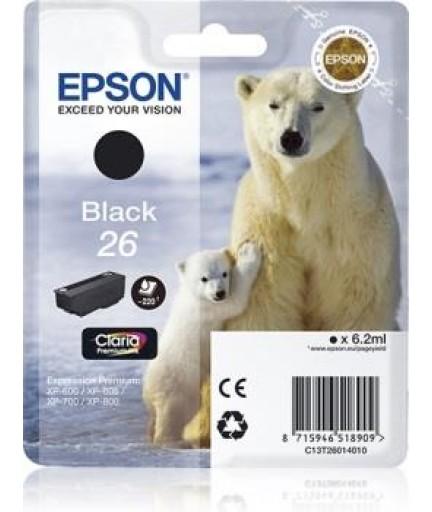 Чернила Epson T2601 черные Claria | 6,2 мл | XP-600/700/800 (C13T26014012)